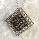 .20 CT Champagne Brown Color Diamond Sterling Silver Pendant Necklace .925