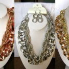 "Chunky Metal Chain Necklace Matching Earrings 1.5"" Links 17-20"" Gold,Silver,Rose"