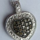 .20 CT Champagne Brown Diamond Pendant Heart Shape Sterling Silver .925