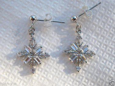 Crystal Accented Snowflake Drop Dangle Earrings Sterling Silver .925