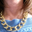 "Chunky Goldplated Chain Necklace 18"" or 38"" Large 1"" Oval Link Punk Hip Hop Curb"
