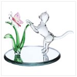 Cat with Pink Frosted Butterfly Figurine