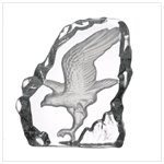 Clear Glass Carved Eagle Paperweight
