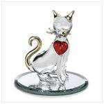 Glass Cat with Red Heart Figurine