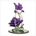Glass Hummingbird and Purple Flower Sculpture