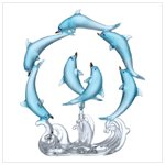 Rotating Blue Dolphins Circle Figurine