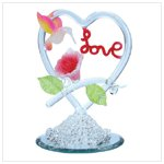 Spun Glass Hummingbird Love Figurine