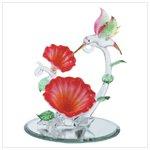 Spun Glass Hummingbird over Flowers