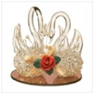 Spun Glass Twin Swans Figurine