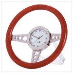 Wood Racer Steering Wheel Desk Clock
