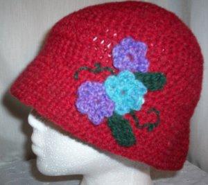 Red Wool Flower Cloche