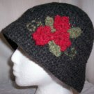 Black Wool Flower Cloche