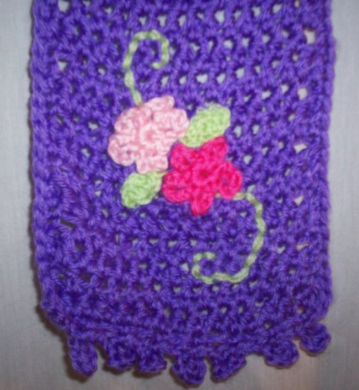 Child's Purple Flower Scarf