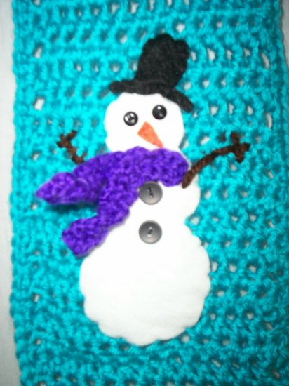 Child's Blue Snowman Scarf