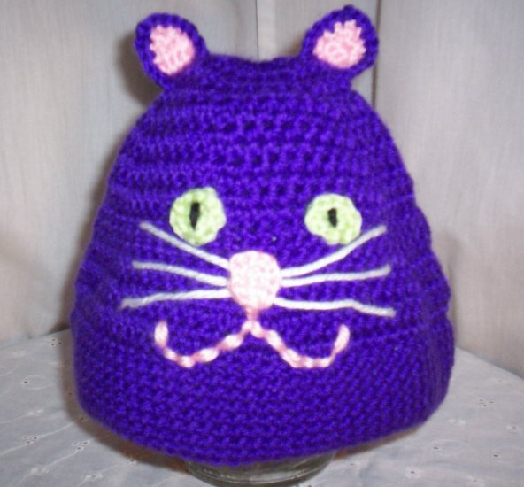 Child's Bright Purple Cat Hat