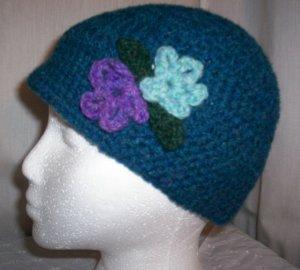Teal Blue Flower Cloche