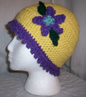 Yellow Flower Cloche With Purple Trim