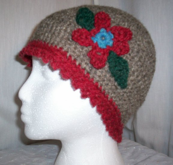 Grey Flower Cloche With Red Trim