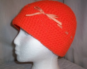 Orange Cloche With Gingham Bow