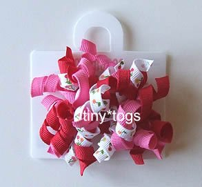 NWT Gymboree Cherry Baby Print Hair Curly Clips New