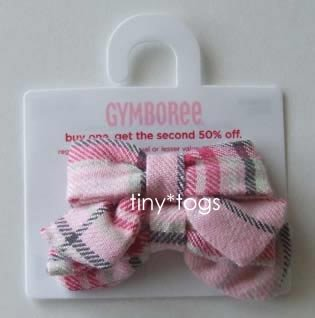 NWT Gymboree Classroom Kitty Plaid Hair Bows Clips 3 4