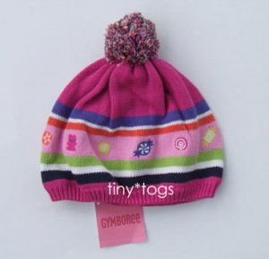 NWT Gymboree Candy Shoppe Pink Pom Pom Stripe Hat 5 6 7