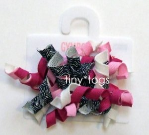 NWT Gymboree Wild One Zebra Pink Hair Curly Clips 2T 3T