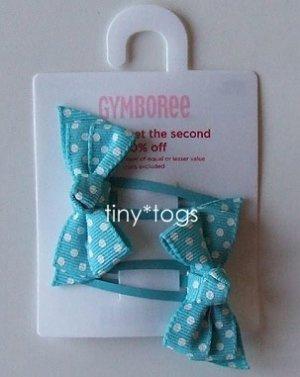 NWT Gymboree Happy Rainbow Blue Polka Dot Bows Clips