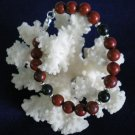 Red Jasper and Blackstone with Sterling Silver Bracelet