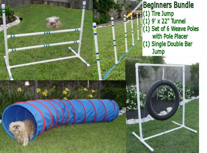 Dog Agility Equipment Beginners Bundle / Package - Tire Jump, Weave Poles, Single Jump & Tunnel
