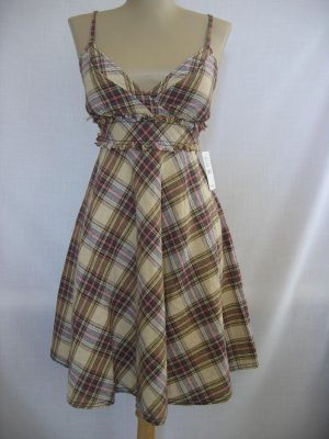 Free People Red Plaid Linen Blended Smocked Dress Sz 8