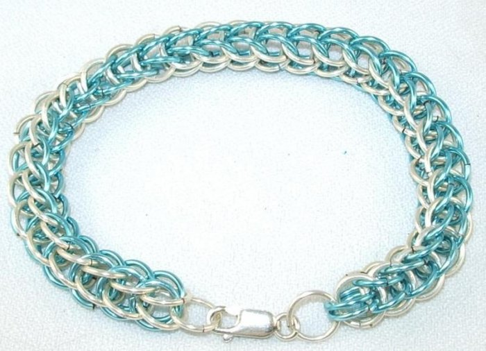 "7 1/2"" Full Persian Chain Mail Bracelet, 2 Tone Silver & Ice Blue w/Sterling Silver Clasp"