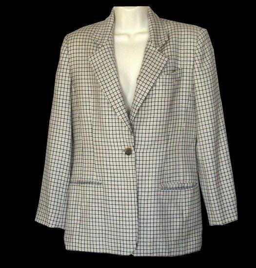 Burberrys Wool Blazer Jacket Black Tan White Size 4 S Small