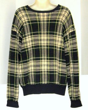 Polo Ralph Lauren Navy Yellow Green Plaid Sweater M Med