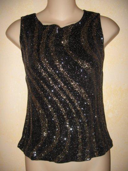 MSK~Black TANK w/SWIRLED Gold & Silver SPARKLE PRINT M