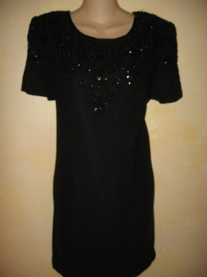 REGGIO~Black BEADED Short FORMAL sz 14