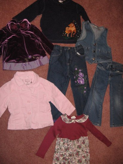 8 pc LOT 3 Tops-PINK CORD JACKET-3 Jeans-DENIM VEST 4-5