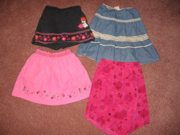 4 SKIRTS~102 DALMATIONS-Denim & Lace-PINK CORD 5-6x