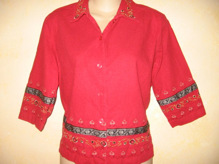 SAG HARBOR~Red w/EMBROIDERED TRIM 3/4 Slv TOP Hippy ETHNIC Boho PS