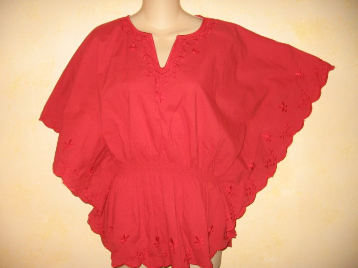 VINTAGE~HIPPIE Boho Red EMBROIDERED Batwing TOP XL