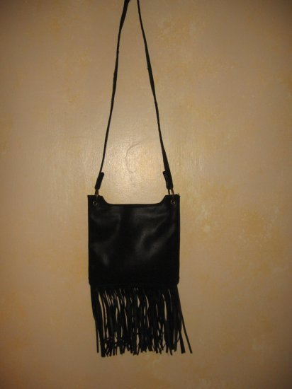 Boho~HIPPIE~Biker~BLACK FRINGED PURSE-Sling BAG