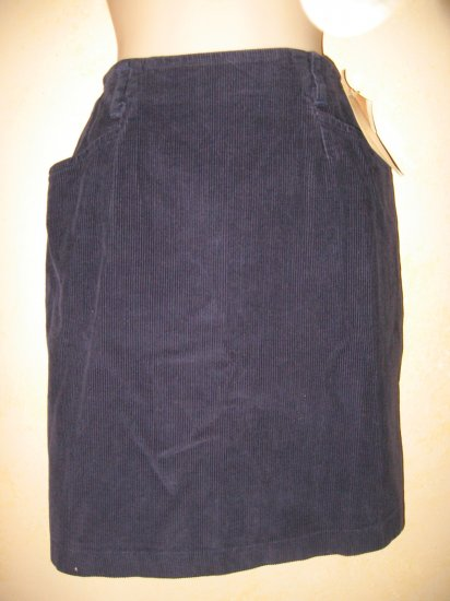 New w/Tags~KATHY IRELAND~NAVY BLUE Thin Rib CORDUROY SKIRT 6