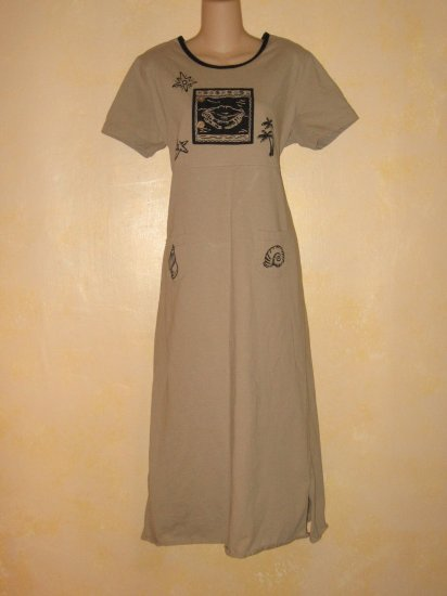JACLYN SMITH~Tan Empire Waist DRESS w/ BEACH SCENE XL