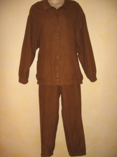 BLAST~Chocolate Brn 2 pc LOUNGING OUTFIT Suede Look LG