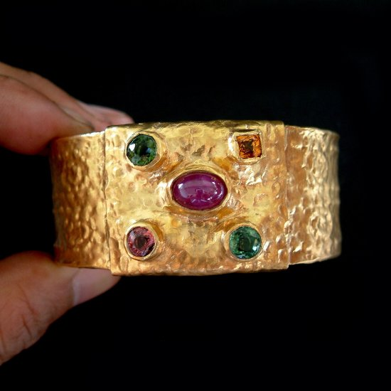 Handmade Gold plated with Mixed Gemstones Bangle