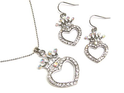 Designer Style Crystal Heart Earring & Necklace Set
