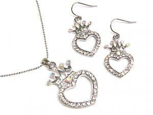 Designer Style Crystal Heart Earring & Necklace Set