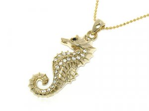 Golden Austrian Crystal Seahorse Necklace * Sale!