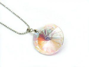Swarovski 30MM Aurora Borealis Silver Necklace