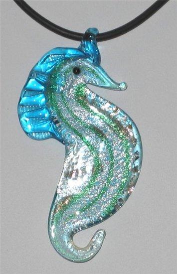 Murano Aqua Foil Artglass Seahorse Necklace